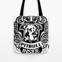 pitbull Tote Bags featuring pitbull inside by LGT logout graphix design