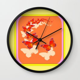 Monarch Butterflies Migration in Cumin Color & Yellow Art Wall Clock