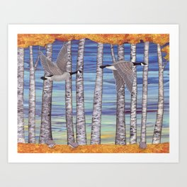 Canada geese, hedgehogs, and autumn birch trees Art Print
