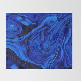 Blue Liquid Marbled texture Throw Blanket