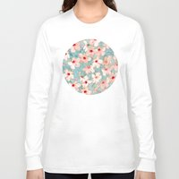 bedding Long Sleeve T-shirts featuring Shabby Chic Hibiscus Patchwork Pattern in Peach & Mint by micklyn