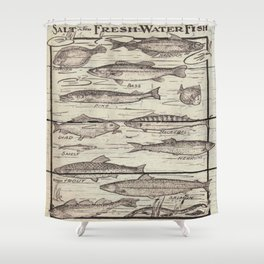 father's day fisherman gifts whitewashed wood lakehouse freshwater fish Shower Curtain