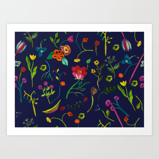 Floral love I pattern Art Print