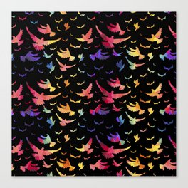 Colorful bird pattern black Canvas Print