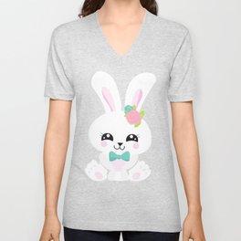 Cute Bunny, White Bunny, Bunny With Blue Bow Tie Unisex V-Neck
