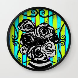 Parisienne Neons - Black & White Roses in Striped Vase Wall Clock