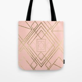 Modern coral faux leather faux gold geometrical pattern Tote Bag