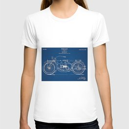 1919 Motorcycle Patent Outline Print T-shirt
