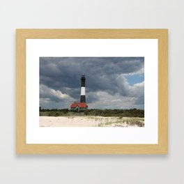 Dramatic Sky Over Fire Island Light Framed Art Print