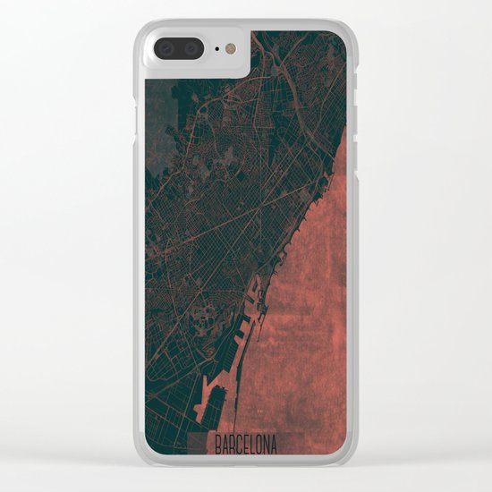 Barcelona Map Red Clear iPhone Case