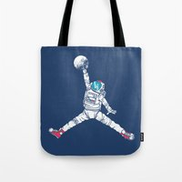 artsy Tote Bags featuring Space dunk by Steven Toang