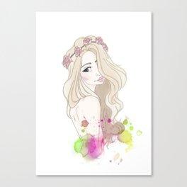 Blonde Flower Crown Girl Canvas Print