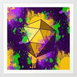 D20 Mardi Gras Splatter Art Print