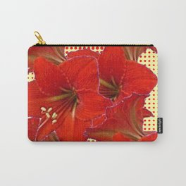 CLUSTER RED AMARYLLIS FLOWERS YELLOW-RED ART Carry-All Pouch