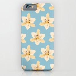 Day Lily Illustrative Pattern on Light Blue iPhone Case
