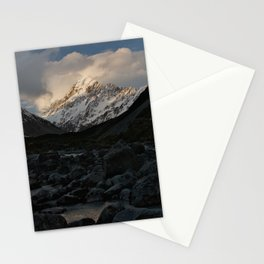 mount cook during golden hour Stationery Cards