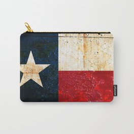 Texas Flag on Rusted Metal Sheet Carry-All Pouch