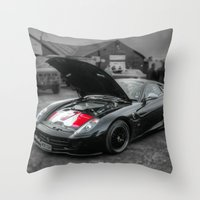 sports Throw Pillows featuring Sports car by john nicholson