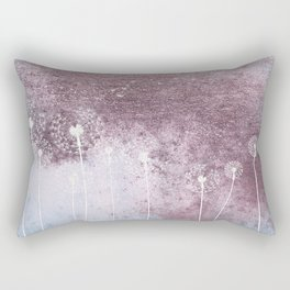 Dandelion Floral Drawing on Rose Gold Metal Rectangular Pillow