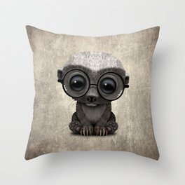 Cute Nerdy Honey Badger Wearing Glasses Throw Pillow