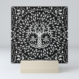 Tree of life with Triquetra Grayscale Mini Art Print