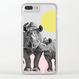 Rhino Print, Baby Rhino Print, Nursery Animal Wall Art, Safari African Animals, Black And White Clear iPhone Case