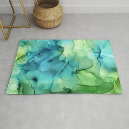 Blue Green Spring Marble Abstract Ink Painting Rug