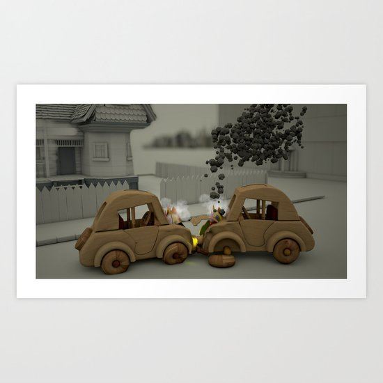 Car Crash Art Print