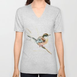 Bird Songbird, Carolina Wren brown, Sahara Shades, soft neutral colored nursery design Unisex V-Neck