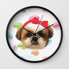 Shitzhu Dog with Headband Wall Clock