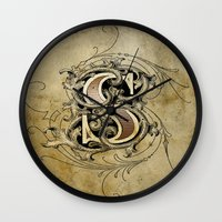monogram Wall Clocks featuring monogram s by Art Lahr