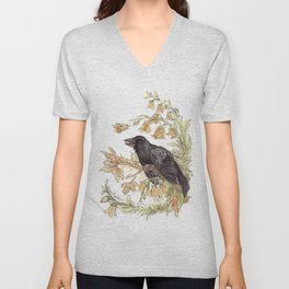 Autumnal Equinox Crow Bellflowers Unisex V-Neck