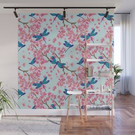 Dragonflies and Cherry Blossoms Wall Mural