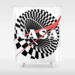NASA Black Hole Classic Logo Graphic Tee Shower Curtain