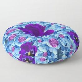 HYDRANGEAS FLORAL & PURPLE PANSIES AMETHYST GEMS Floor Pillow