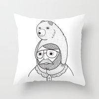 hats Throw Pillows featuring On how baby bears are often used as winter hats by Michael C. Hsiung