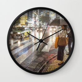 Rain In Shibuya Wall Clock