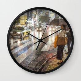 Rain In Shibuya Wall Clock