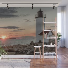 Sundown at the Annisquam Lighthouse Wall Mural