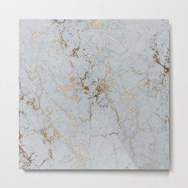 Stylish blush teal gold elegant abstract marble Metal Print