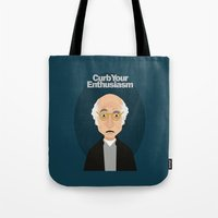 larry david Tote Bags featuring Larry David by Spencer Rizk