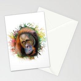 An Orangutan Watercolor Portrait Stationery Cards