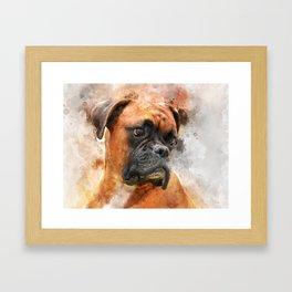 Boxer Dog Thinking Framed Art Print