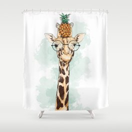 Intelectual Giraffe with a pineapple on head Shower Curtain