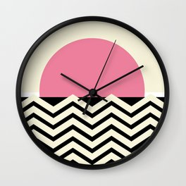 Pink Sunset Fuzz Wall Clock