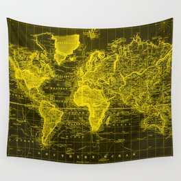 Vintage Map of The World (1833) Black & Yellow Wall Tapestry