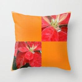 Mottled Red Poinsettia 1 Ephemeral Blank Q8F0 Throw Pillow