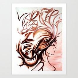 Earthy Wind in My Hair Art Print
