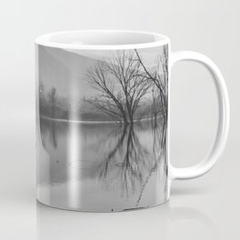 Foggy Winter. Mammoth Laggon. Bw Square Coffee Mug