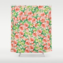 Botanical red green coral watercolor floral roses pattern Shower Curtain